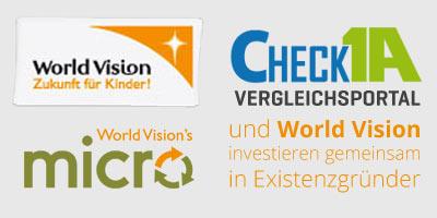 CHECK 1A Vergleichsportal und World Vision investieren gemeinsam in Existenzgründer